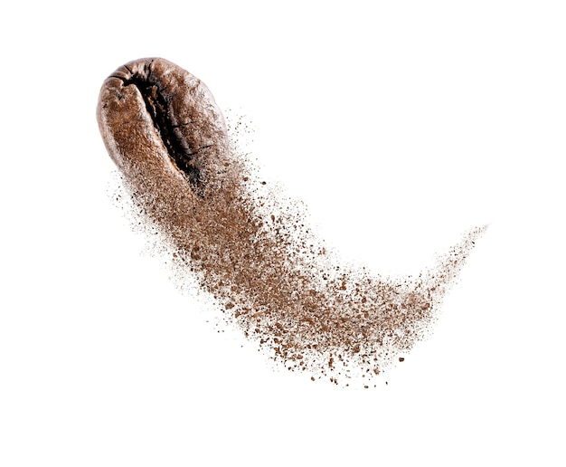 Coffee bean flying explosion isolated on white background