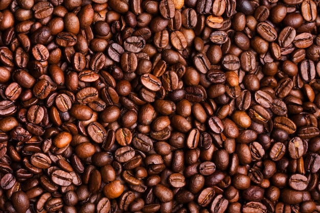 コーヒー豆のテクスチャ、背景。上面図。