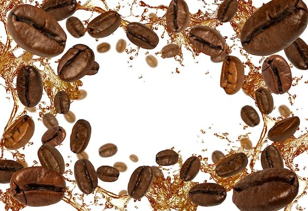 커피 원두와 흰색 바탕에 액체