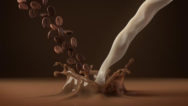 Кофейные зерна и молоко падают в брызги кофе.