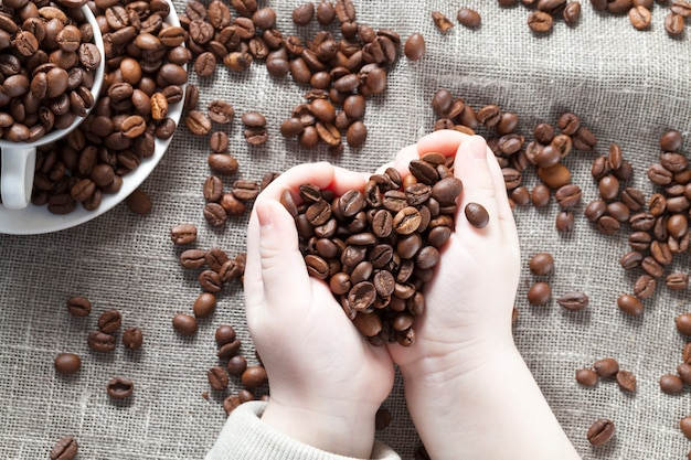 Coffee beans are in the hands of a child, a tablecloth with scattered coffee beans and a mug