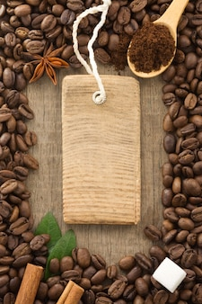 Coffee beans background texture and tag price label