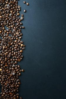 Coffee beans background with space for text