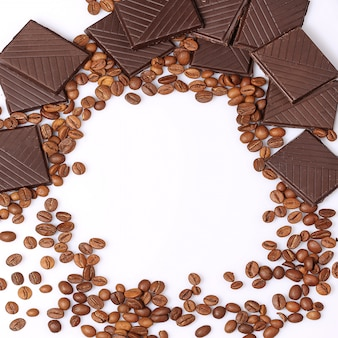 Coffee beans chocolate background