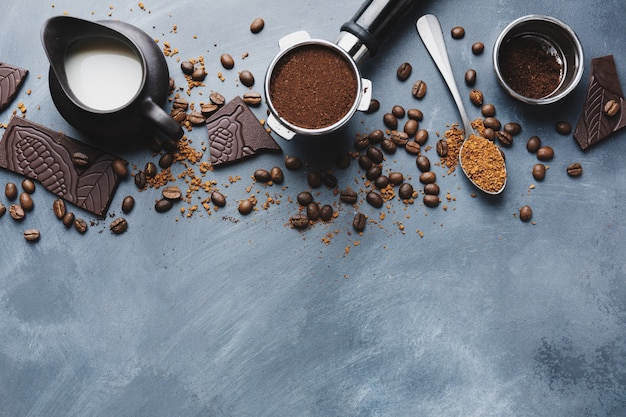 Coffee beans, chocolate and coffee espresso