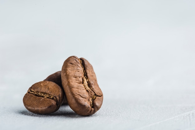 Coffee beans closeup on white background with copyspace