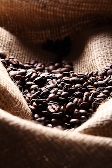 Coffee beans on cloth sack