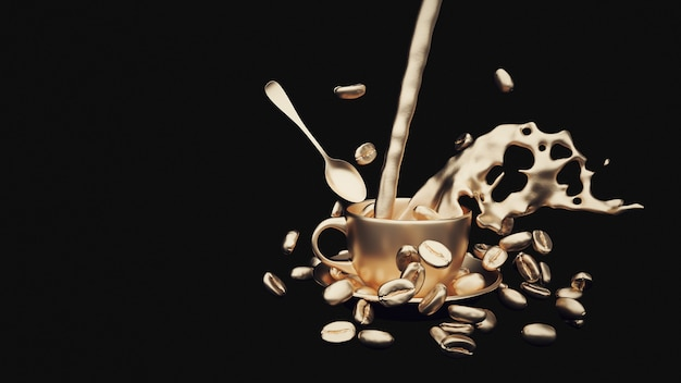Coffee beans coffee mug spoon