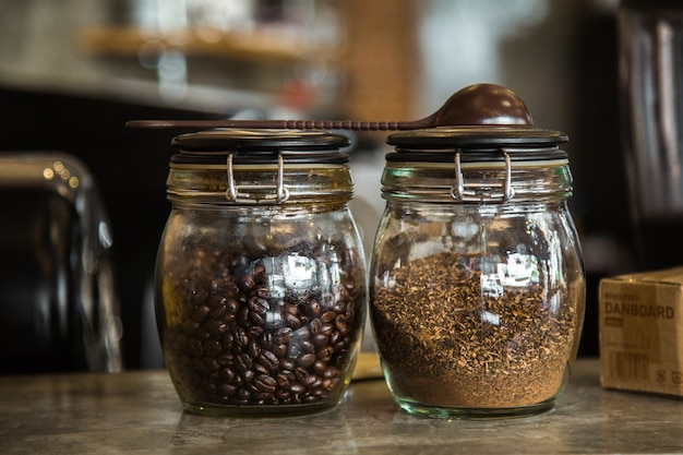 Coffee beans and coffee powder in the cafe