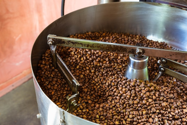 Coffee beans in coffee roasting machines