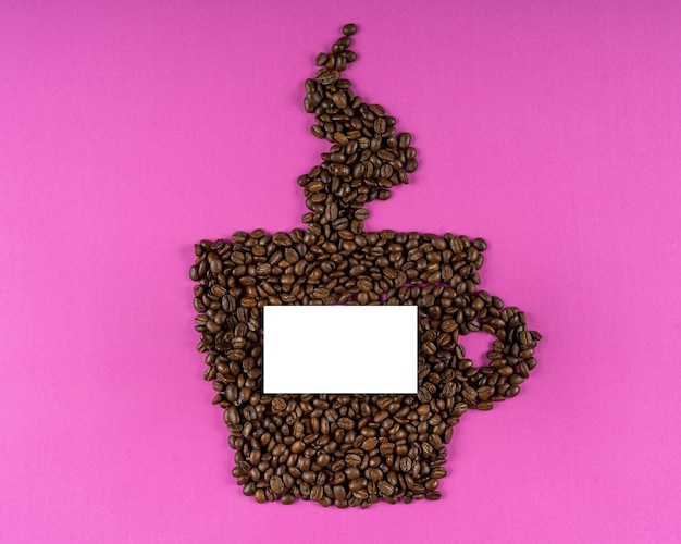 Coffee beans in cup shape composition mockup energy copy space white paper card note purple
