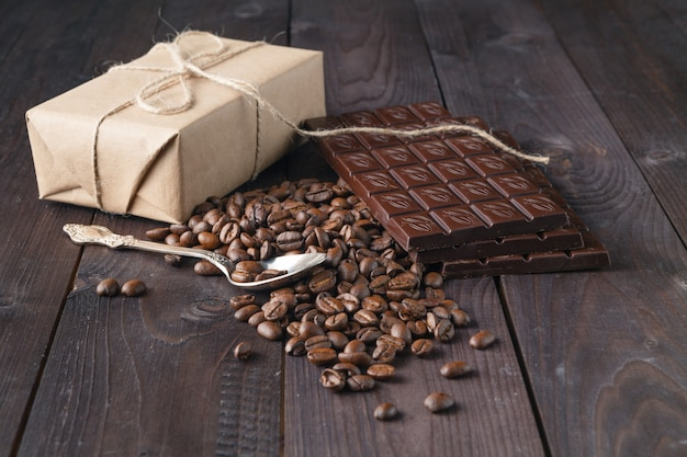 Coffee beans and dark chocolate