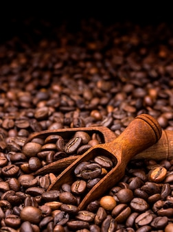 Coffee beans. dark with copy space, close-up
