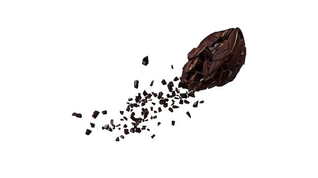 白い背景の上のコーヒー豆の爆発。 3dレンダリング