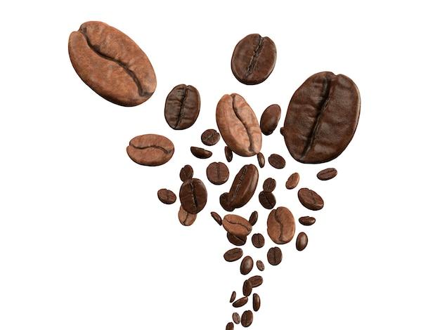 Кофейные зерна падают на белом фоне