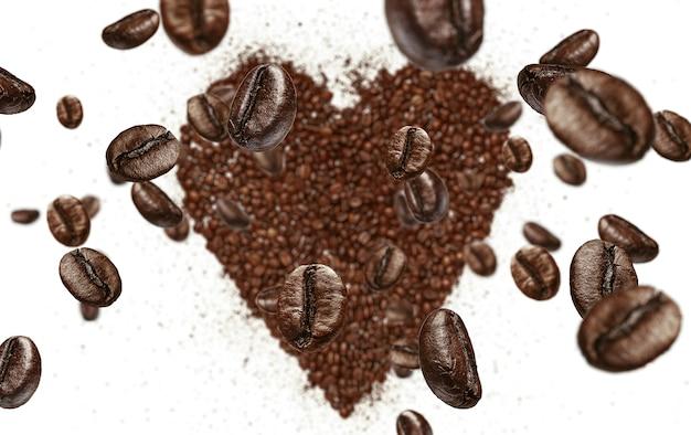 Кофейные зерна падают на сердце из жареных кофейных зерен