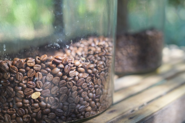Coffee beans in the glass bowl