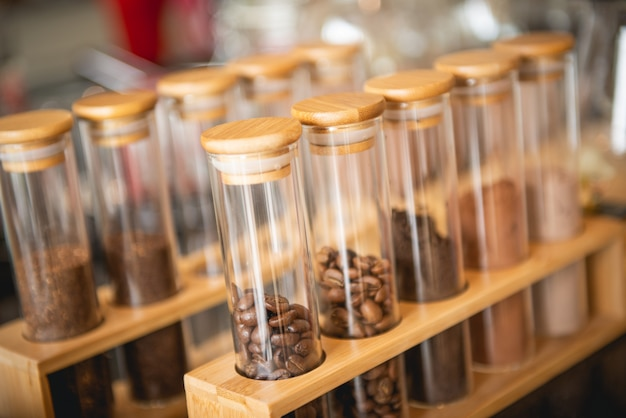 Coffee beans in glass tubes