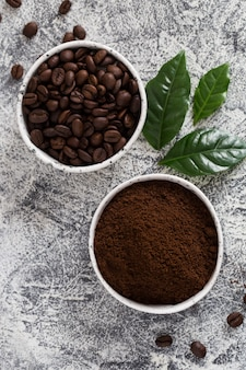 Coffee beans and ground coffee in bowls with coffee tree leaf on light.