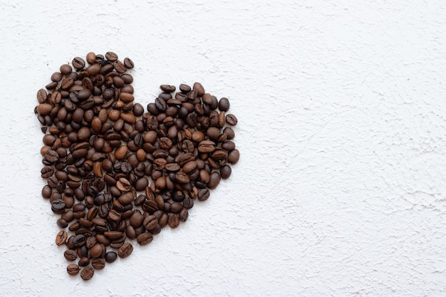 Coffee beans heart shape. use for decorate coffeeshop and cafe. coffee and coffee beans