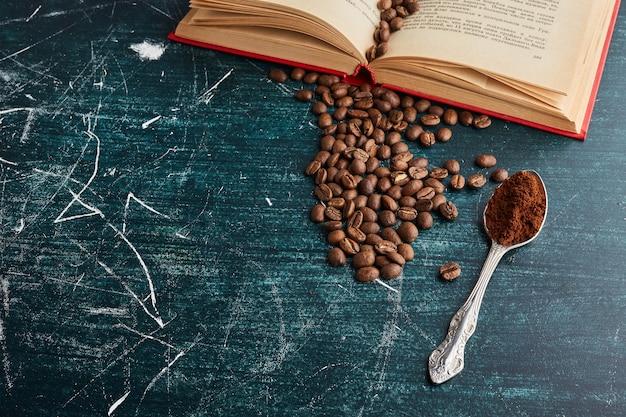 金属のスプーンでコーヒー豆。