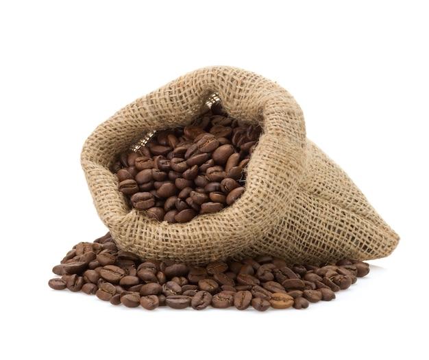 흰색 가방에 커피 콩