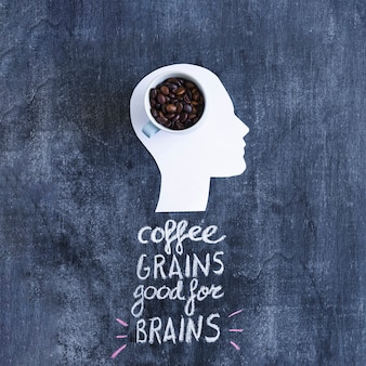 Coffee beans in the mug on the white cutout head with text over the blackboard