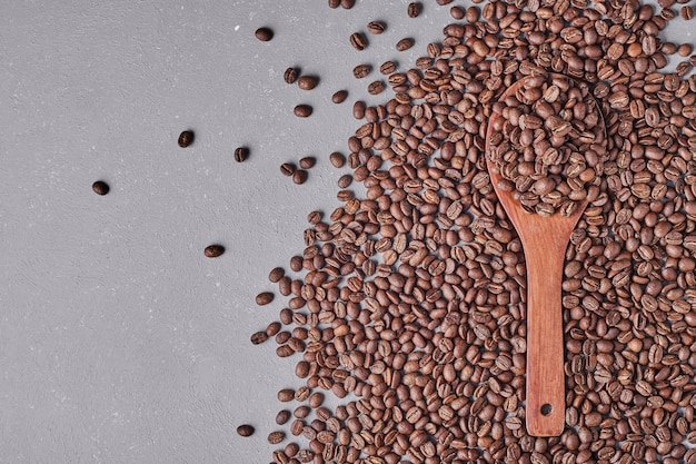 Coffee beans isolated on blue background.