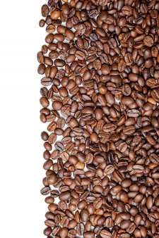 Coffee beans isolated on white background with copyspace for text
