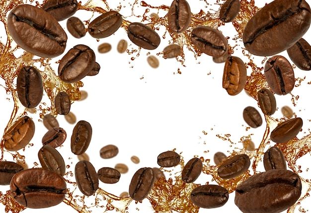 Coffee beans and liquid on white background