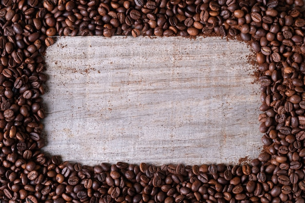 Coffee beans, in the middle wooden table