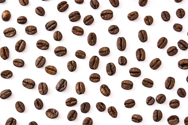 Coffee beans pattern isolated  top view