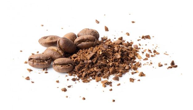 白のコーヒー豆の粉