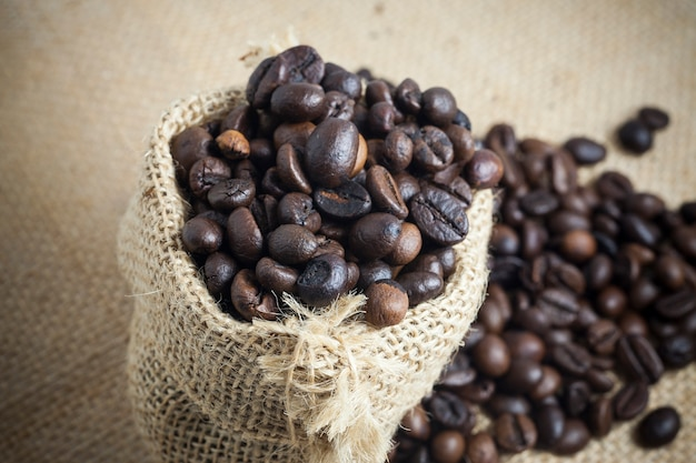 Coffee beans roasted in bag sack
