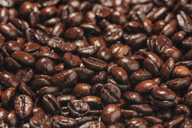 コーヒー豆。ローストコーヒー豆の背景。