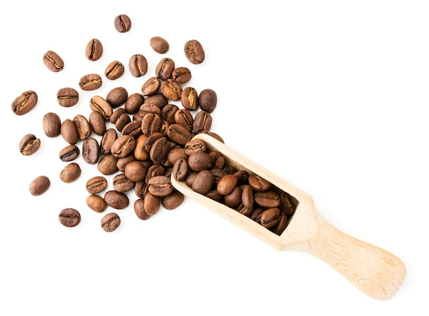 Coffee beans spilled out of a wooden spatula on a white background. the view of the top.