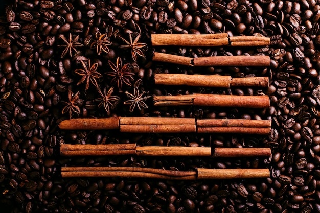 Coffee beans, star anise and cinnamon in the shape of the american flag