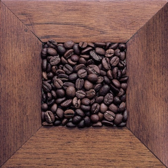 Coffee beans on the table. top view