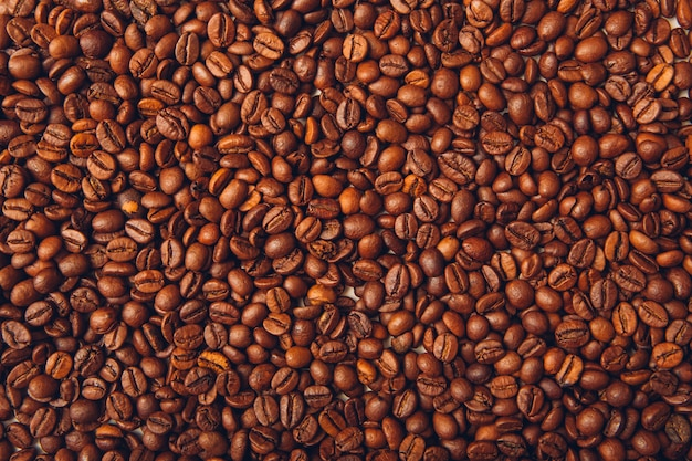Coffee beans top view background