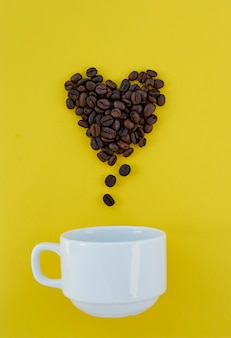 Coffee beans valentines concept
