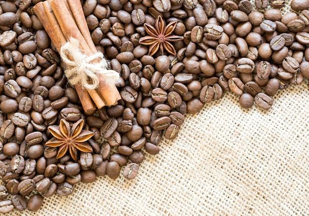 黄麻布、上面図にアニスとシナモンとコーヒー豆
