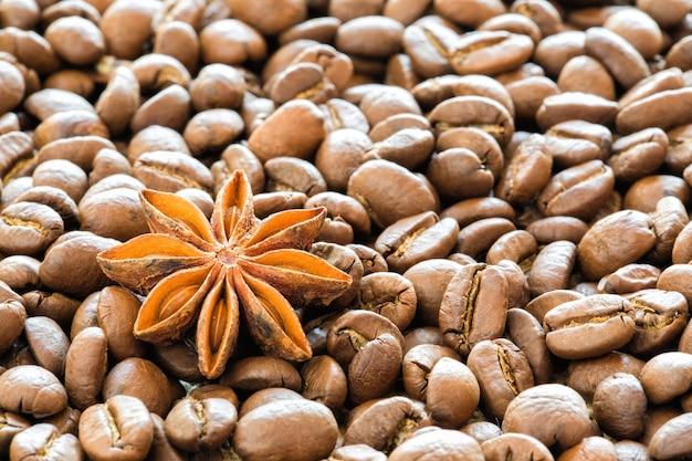 アニスの背景を持つコーヒー豆