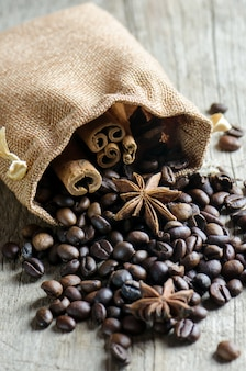 Coffee beans with anise and cinnamon