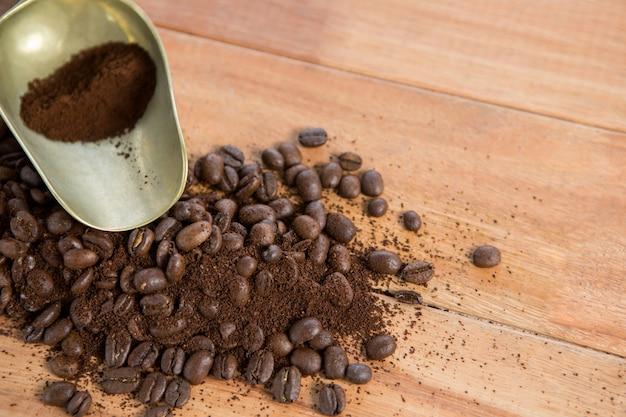 Кофейные зерна с порошком и совком