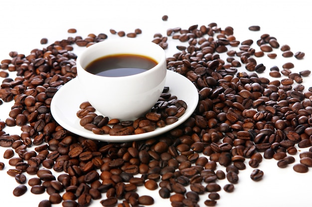 Coffee beans with white cups