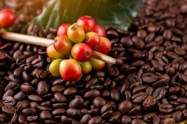 Coffee beans. on a wooden surface rotation