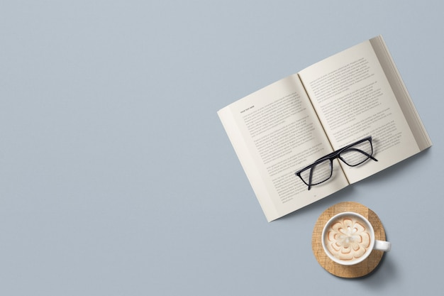 Coffee and a book with glasses