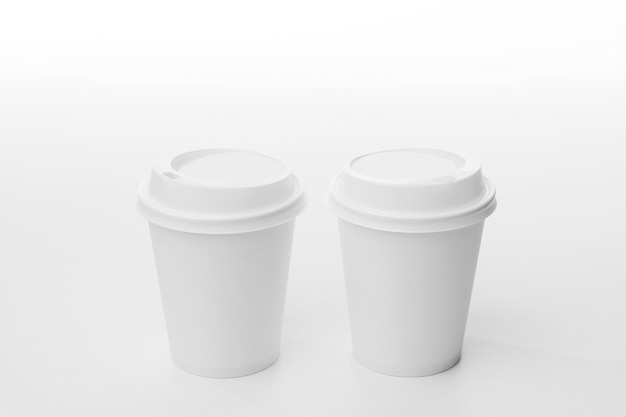 Coffee branding with cups high angle