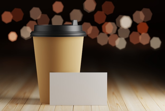 Coffee break business card mockup. a business card in a cafe on a table near a paper coffee mug. 3d rendering.
