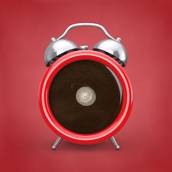 コーヒーブレイクコンセプト。赤い背景の目覚まし時計としてコーヒーカップ。 3dレンダリング
